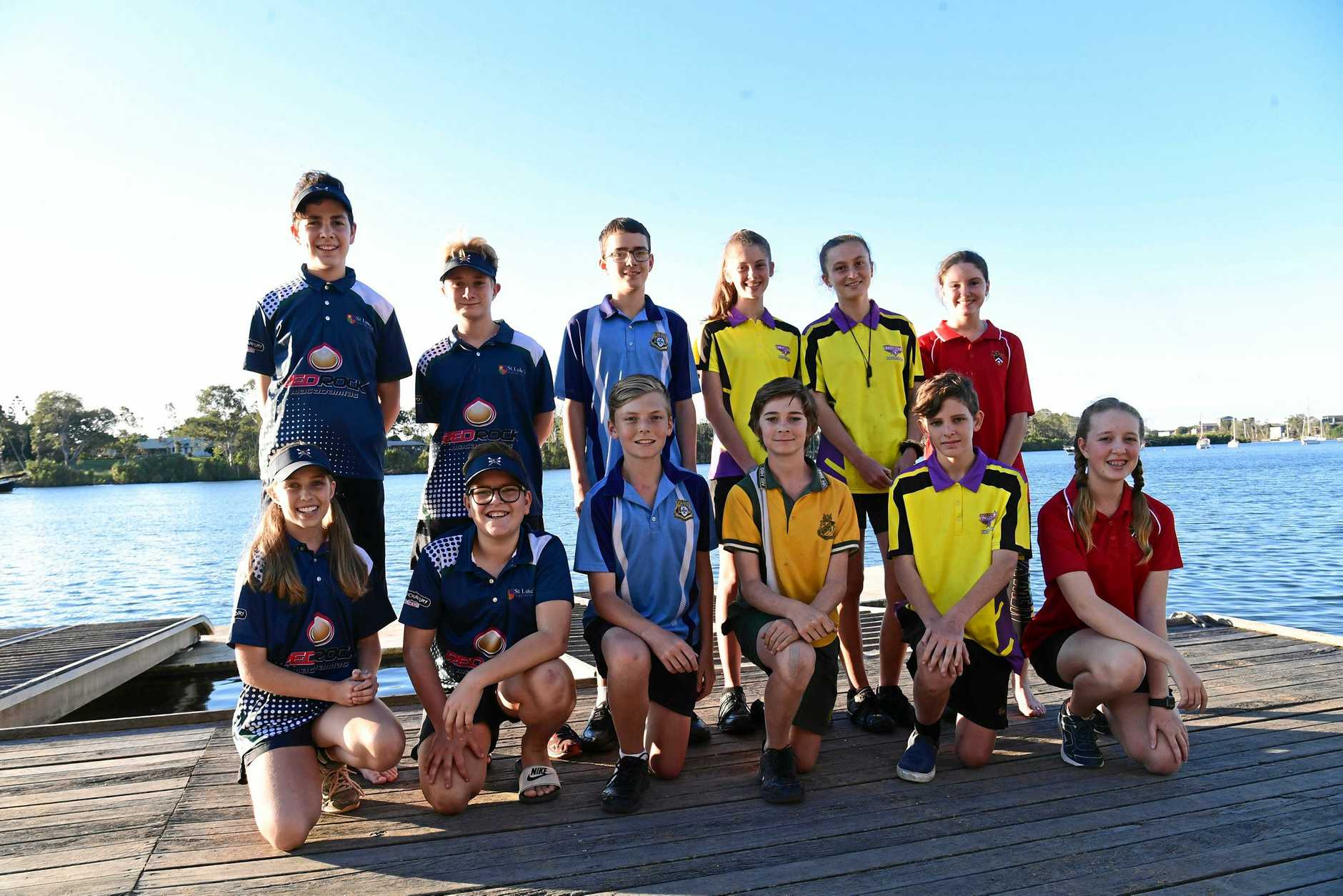NEW GENERATION: St Luke students Lucas Rao (top left) and Henry Hirst with Bundaberg State High School student Thomas Baker, Bundaberg North State High School students Kasey Houston and Marney Blair and Shalom College's Lily Fenton are among the new rowers competing in Head of the River. They are joined by St Luke's Gabby Miners (front left), Olly Meehan, Bundaberg State High School's David McCord, Gin Gin State High School's Nathan Davis, Bundaberg North State High School's Blake Wake and Shalom College's Jorja Mortimer.