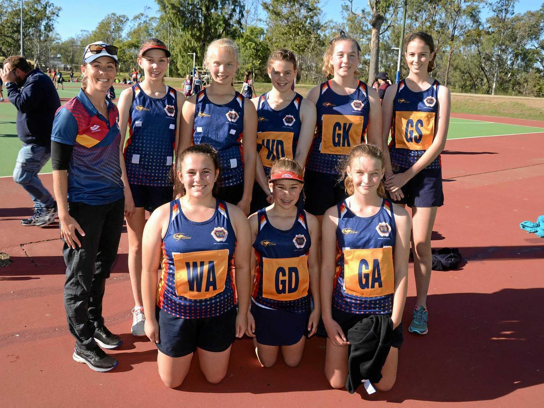 Warwick State High School netball team (back, from left) coach Michelle Byrne, Sophie Strom, Shakira Saunders, Briony Walker, Alyssa Welsh, Sophie Kuhn, (front) Learna Moncada, Aliza Schelbach and Nicolene Snyman.