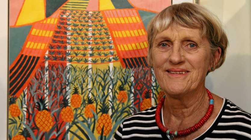 WINNING ARTWORK: Gympie artist Nonie Metzler with her award winning artwork Pineapple Fields Forever at last year's exhibition.