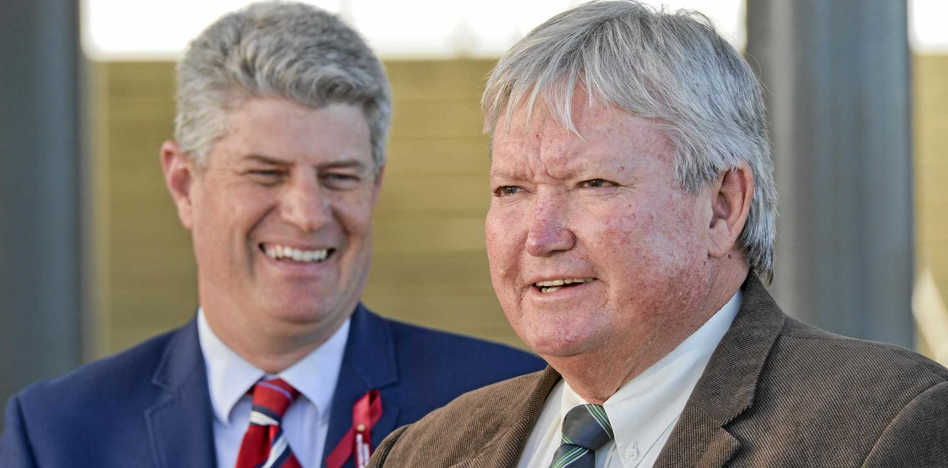 Minister Stirling Hinchliffe (red tie), Ipswich Turf Club chairman Wayne Patch (green tie brown jacket) and Racing Queensland CEO Brendan Parnell (blue tie) at the Ipswich Turf Club for a story about its development.