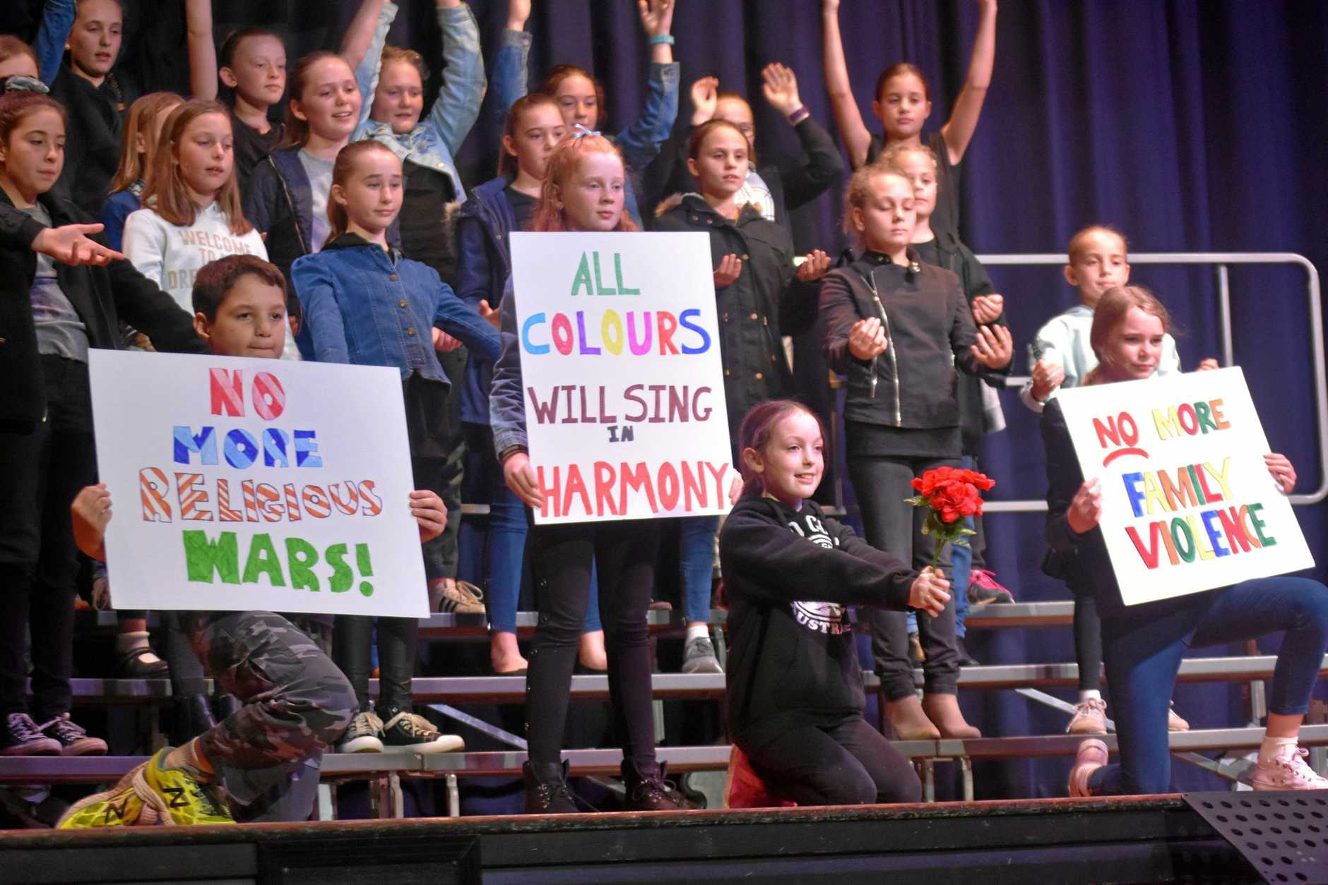RIGHT NOTE: Singers from Dalby South State School gave a thought-provoking performance of  If Everyone Cared .