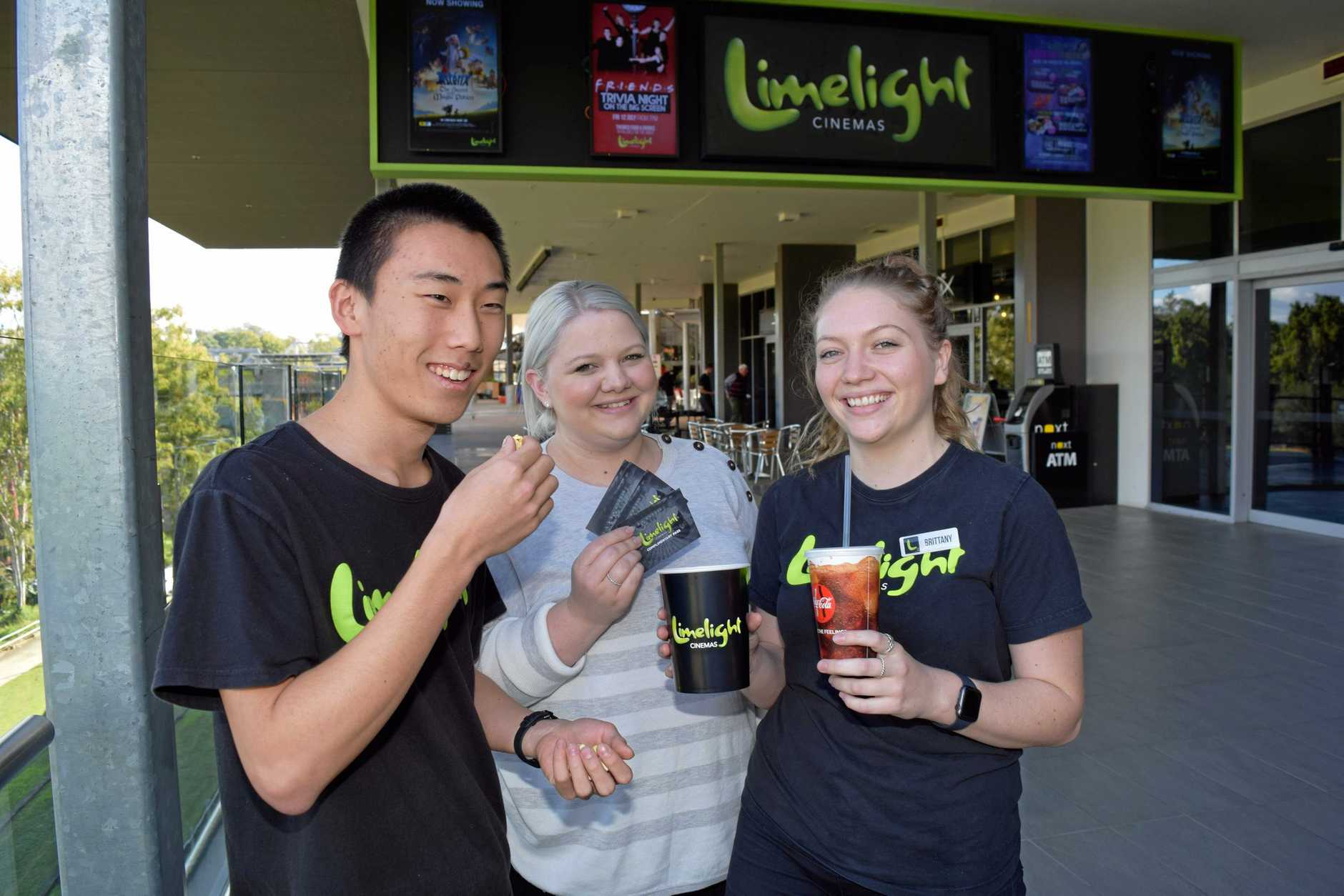 Limelight staff Dale Kim and Brittany Howard with Manager Alexis Poulsen (centre) in the heart of Riverlink's Entertainment Precinct.
