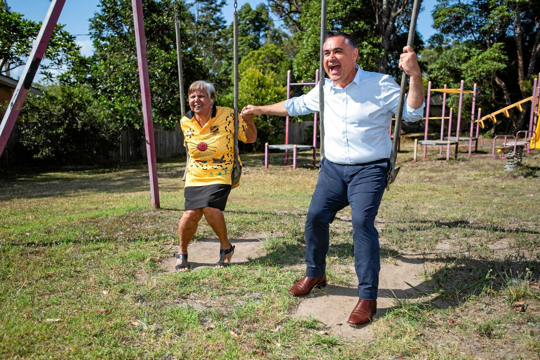 Deputy Premier of NSW John Barilaro with Aunty Jenny Skinner at the old Wongala Estate playground in February.