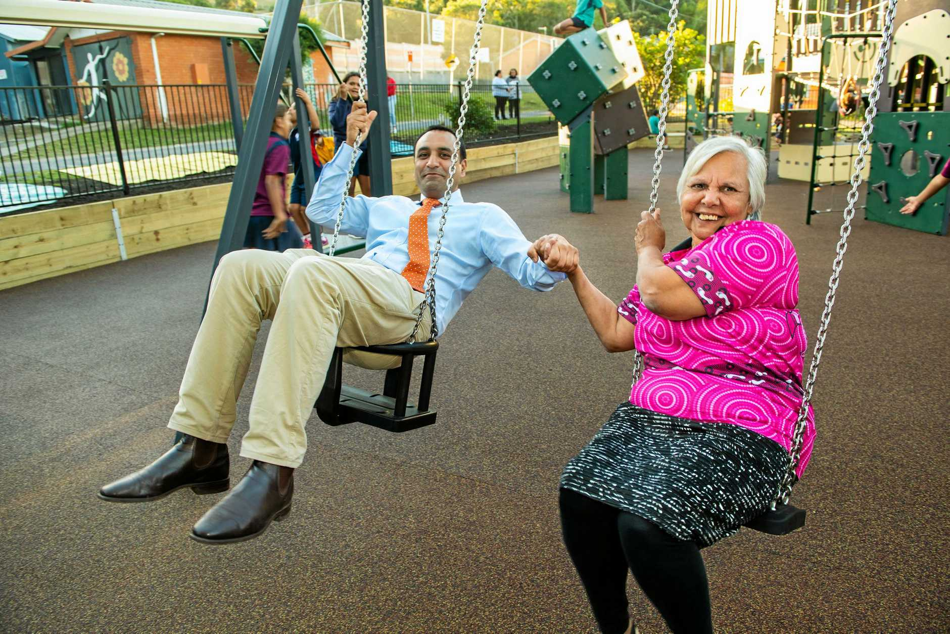New playground opened at Wongala community village, Pic Elder Aunty Jenny and Gurmesh Singh member for Coffs Harbour. 12 JUNE 2019