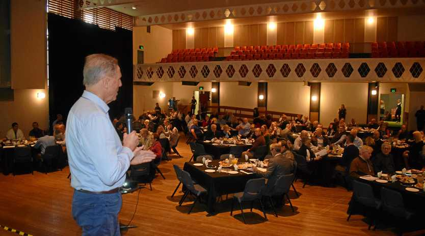 BIG IDEAS: Chamber of Commerce president Tony Goodman welcomes more than 130 guests to the chamber business breakfast, held at the Gympie Civic Centre.