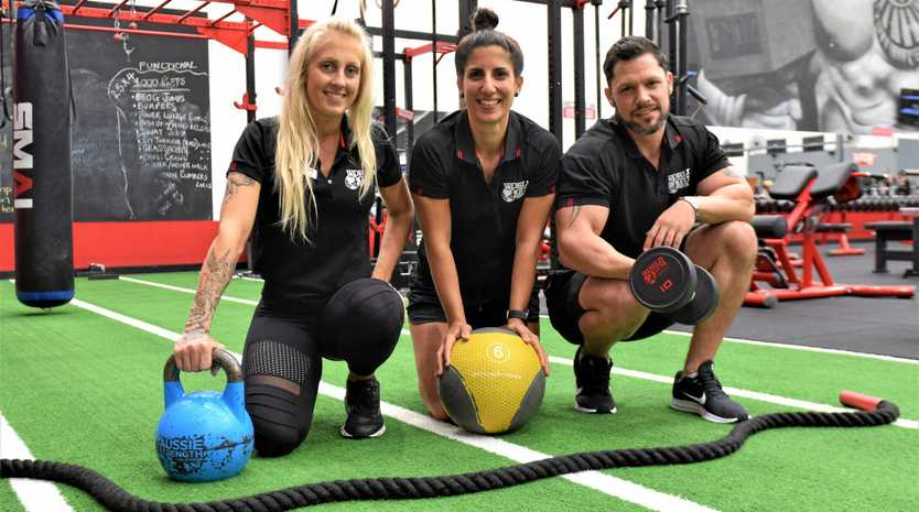 Mackay World Gym reception manager Emma Osborne, club manager Ann-Louise Grech and PT manager Hugo Van Rooyen.