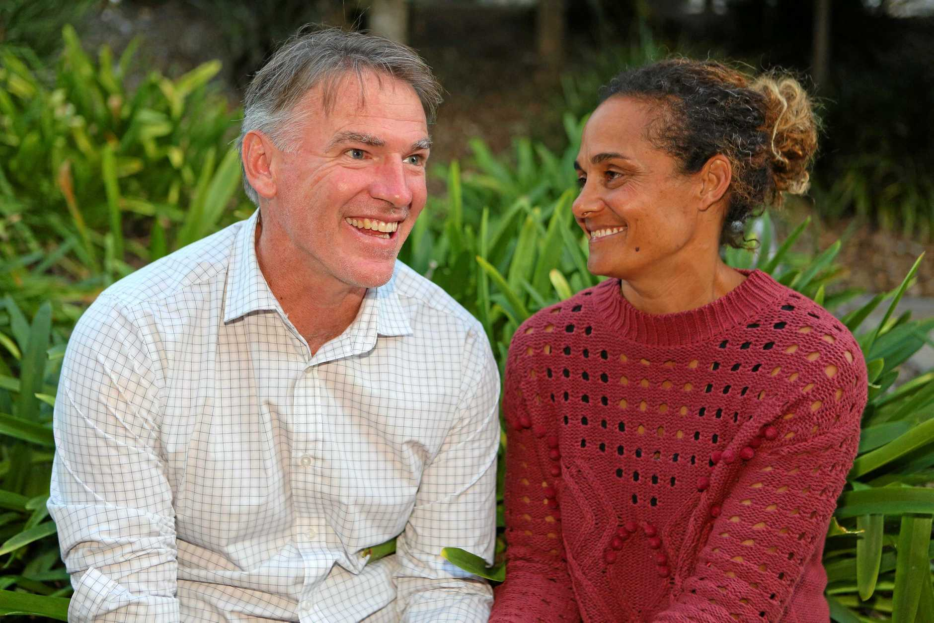 Independent candidate Rob Oakeshott pictured with his wife Sara-Jane on election day.