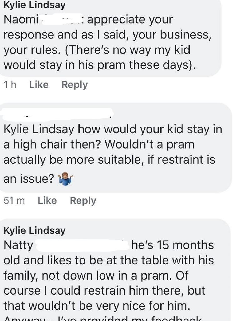 Low Road Cafe. Kylie Lindsay's original response before the business owner allegedly started attacking her online. Picture: Facebook