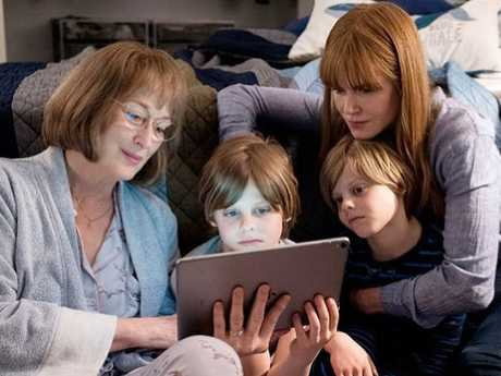 Cameron and Nicholas Crovetti with Meryl Streep and Nicole Kidman on the set of Big Little Lies season two.