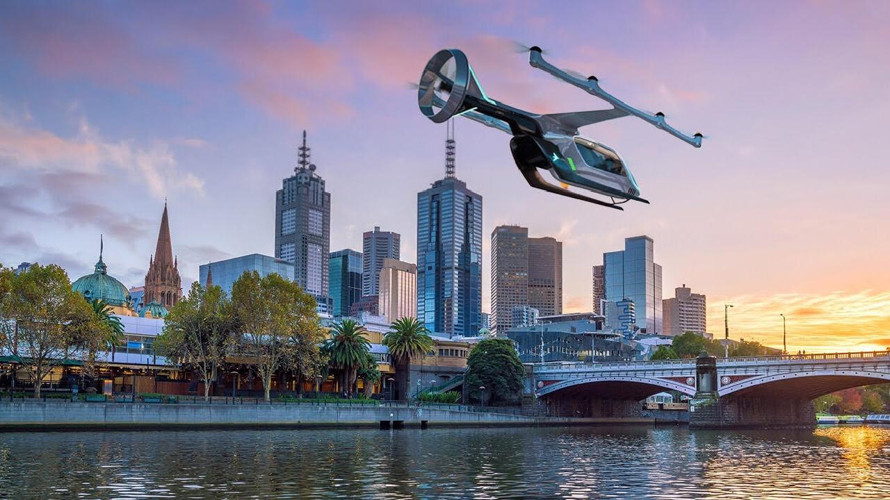 An artist's impression of an Uber Air aircraft flying over Melbourne. Picture: supplied