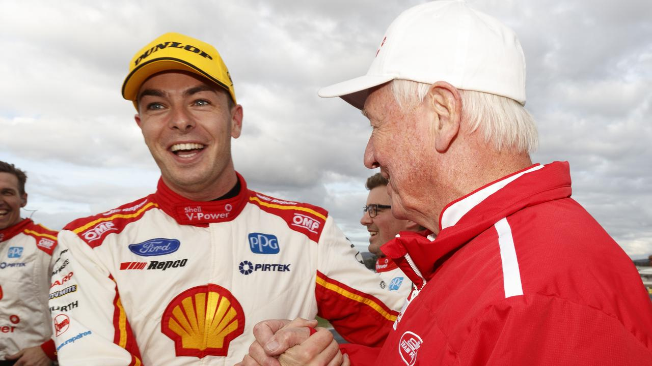 DJR Team Penske driver Scott McLaughlin with Dick Johnson. Picture: AAP