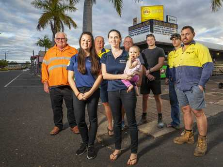 WE'RE READY: Clermont Adani supporters Peter Pavey, Jenny Pongratz, Kel Appleton, Keely McLean (with baby Isabella), Roger Vine, Harrison Maggs, Brodie Perry and Chris McLean. Picture: Lachie Millard