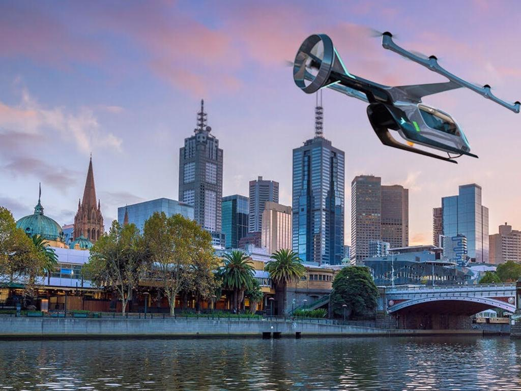 An ariutst's impression of an Uber Air aircraft flying over Melbourne's Yarra Raiver. Picture: Supplied