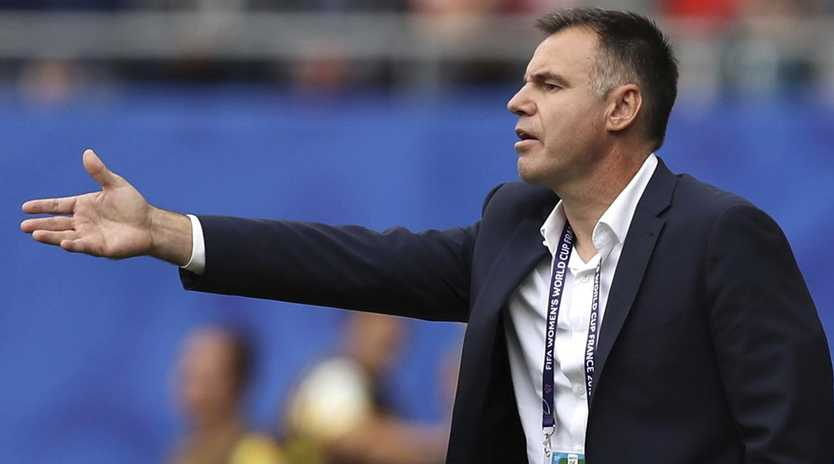 Matildas coach Ante Milicic says the team will will continue to play a high defensive line against Brazil. Picture: AP