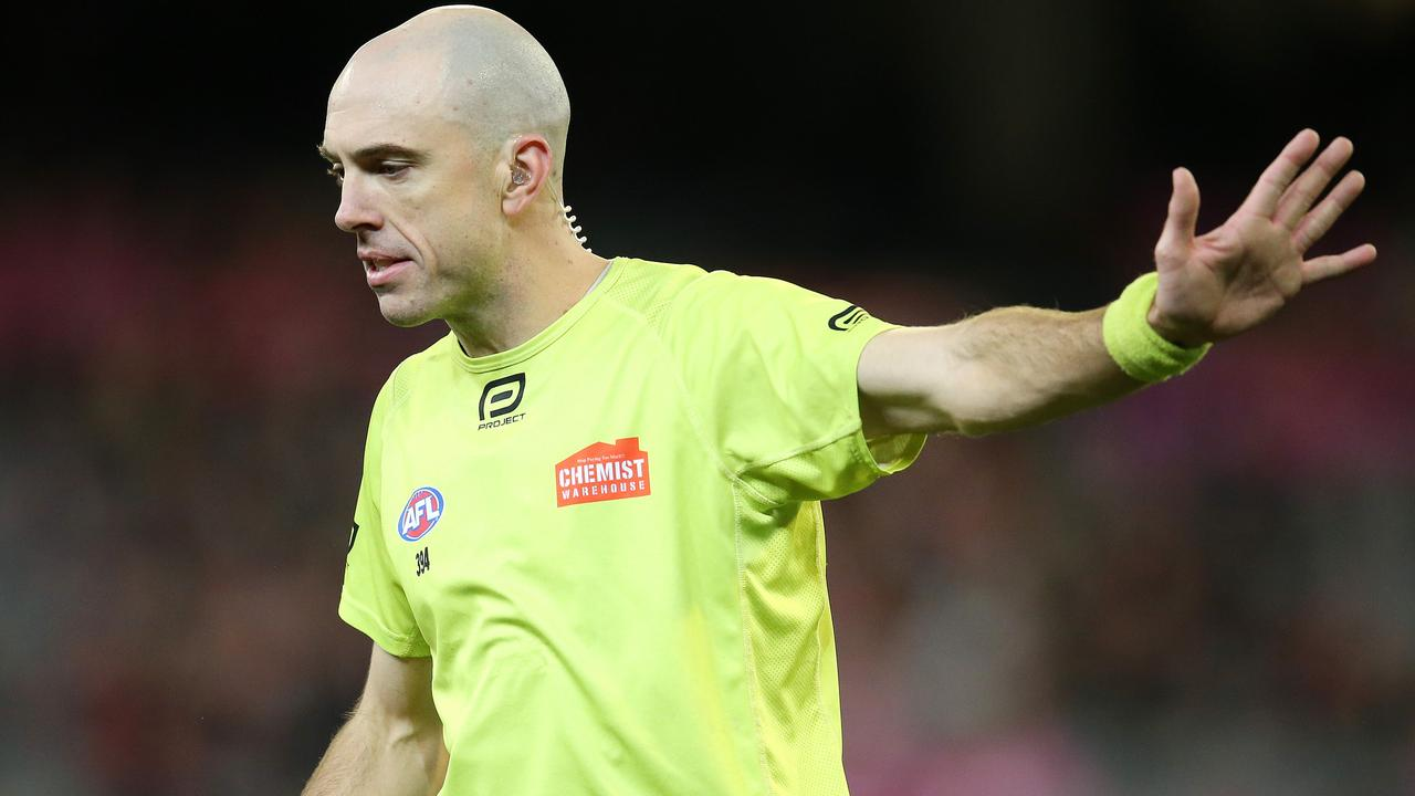 Umpire Mathew Nicholls was the target of an angry Carlton fan. Picture: Michael Klein