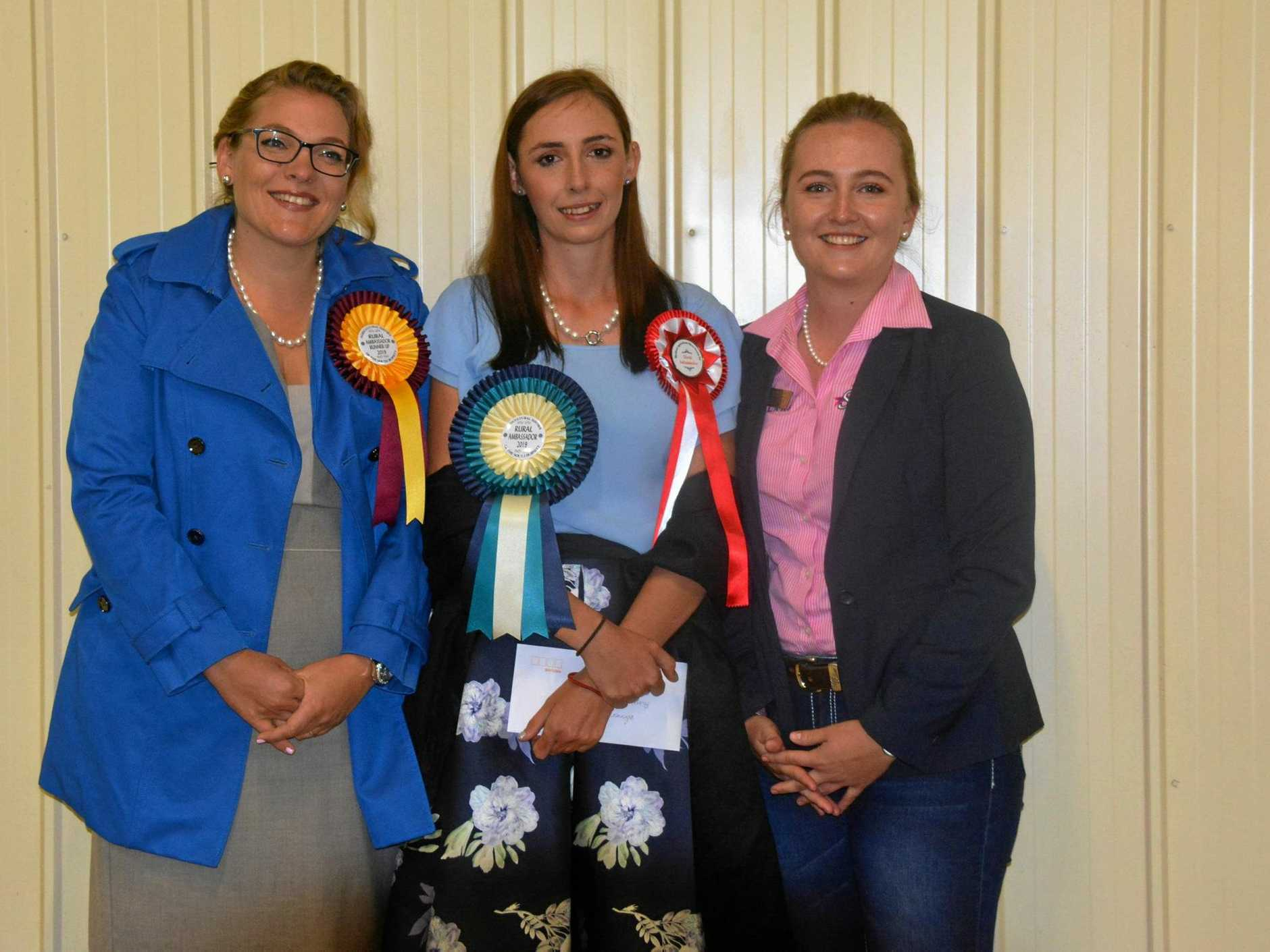 Rural ambassador runner-up Brigitta Knopke (Kingaroy), South Burnett Rural Ambassador Leonie Nichols (Blackbutt) and Stacey Sanders (Nanango).