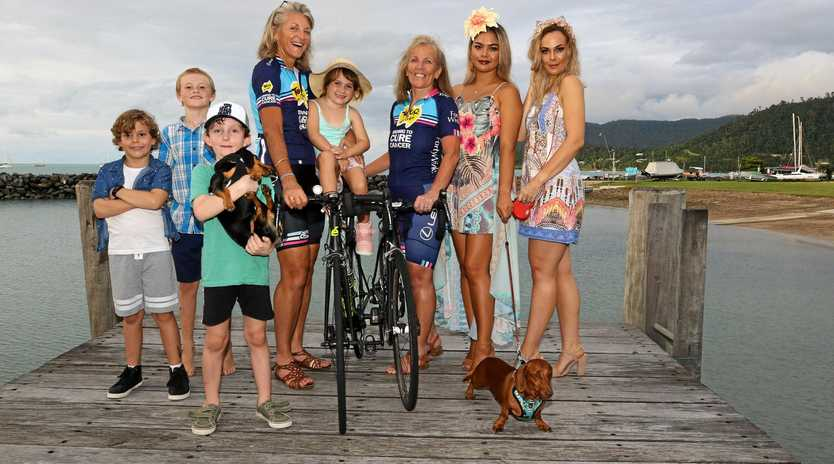 Janelle 'Woody' Eastwood, Shona Russell, Meriya Robertson, Melody Flynn, Ryder Cleary, Nelson Malady, Noah and Piper Farrow and dogs Hunter and Cookie are looking forward to the Dachshund Dash at Whitsunday Sailing Club on Saturday.