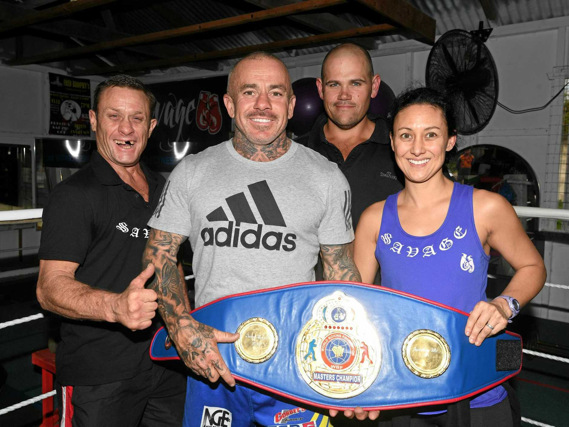 Savage Boxing and Fitness Centre coaches Mark Hanson, Danny Hawkins, Michael