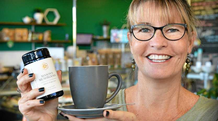 Barista Kiri Richardson of Kunara Organic Marketplace, has been brewing up coffee containing 8 different types of mushrooms and is going gang-busters.