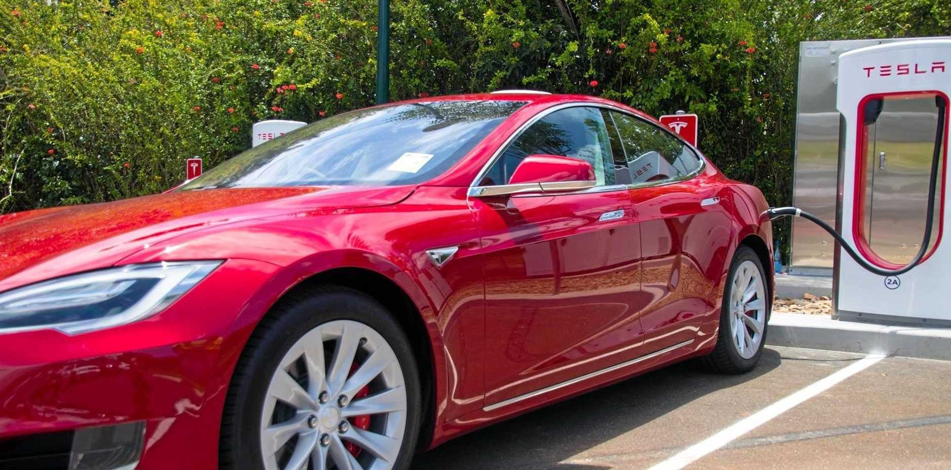 CHARGER: One of the first Tesla cars to test out the new charging station at the Macadamia Castle in the Northern Rivers.