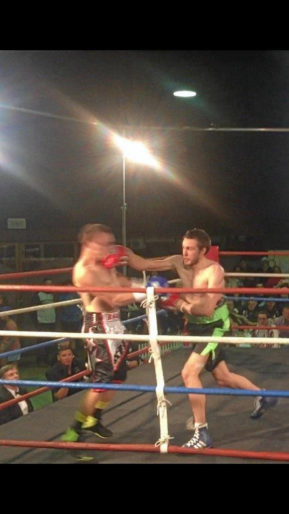 Toowoomba's Maks Chylewski lands a right cross on Jason Brackin in his comeback fight at Clifford Park in April.