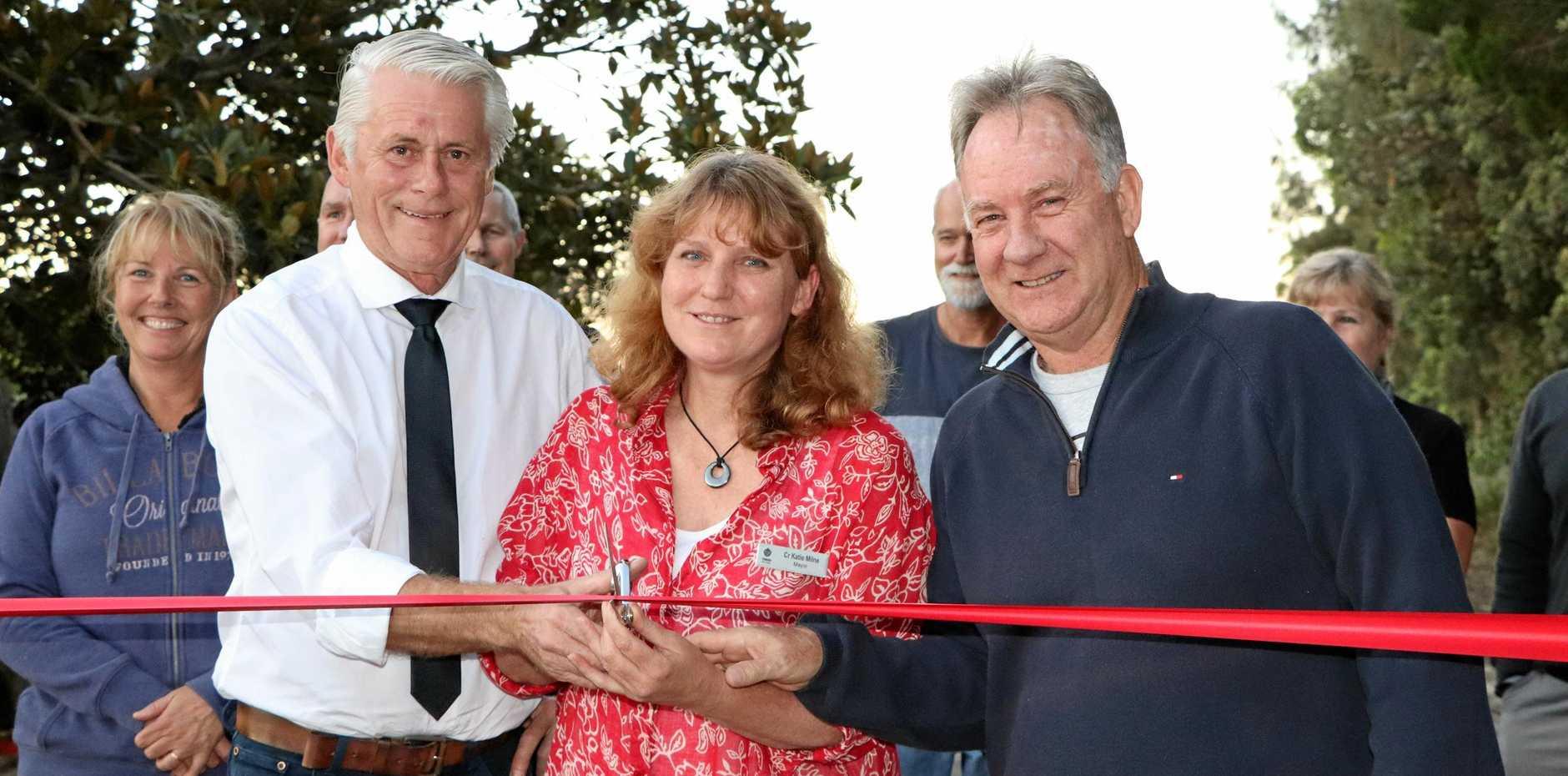 Tweed MP Geoff Provest, Mayor Katie Milne and President of the Casuarina, Seaside and Salt Residents Association Mark Grunwald.