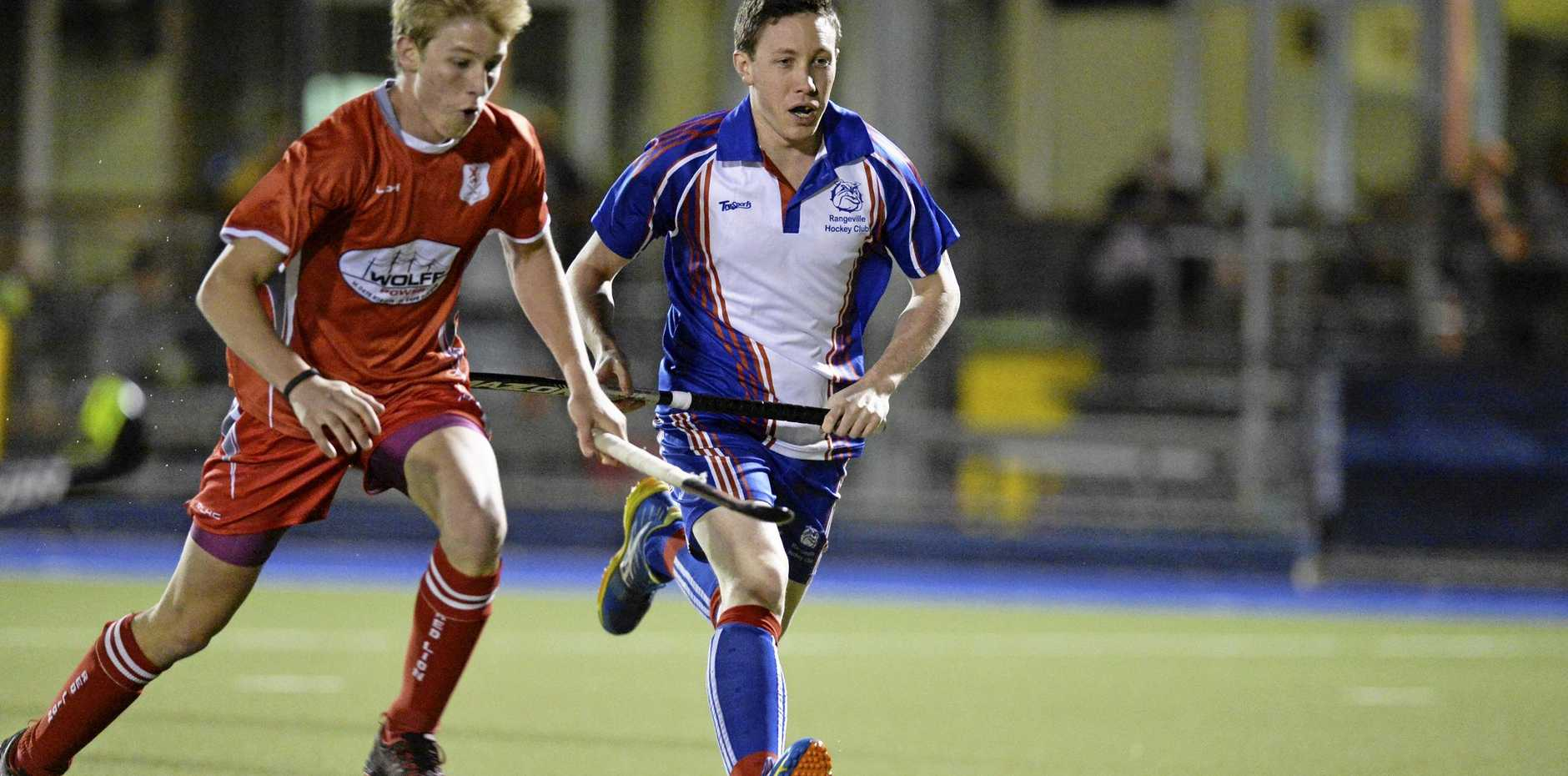 Rangeville player Jacob Johnson chases the ball down.