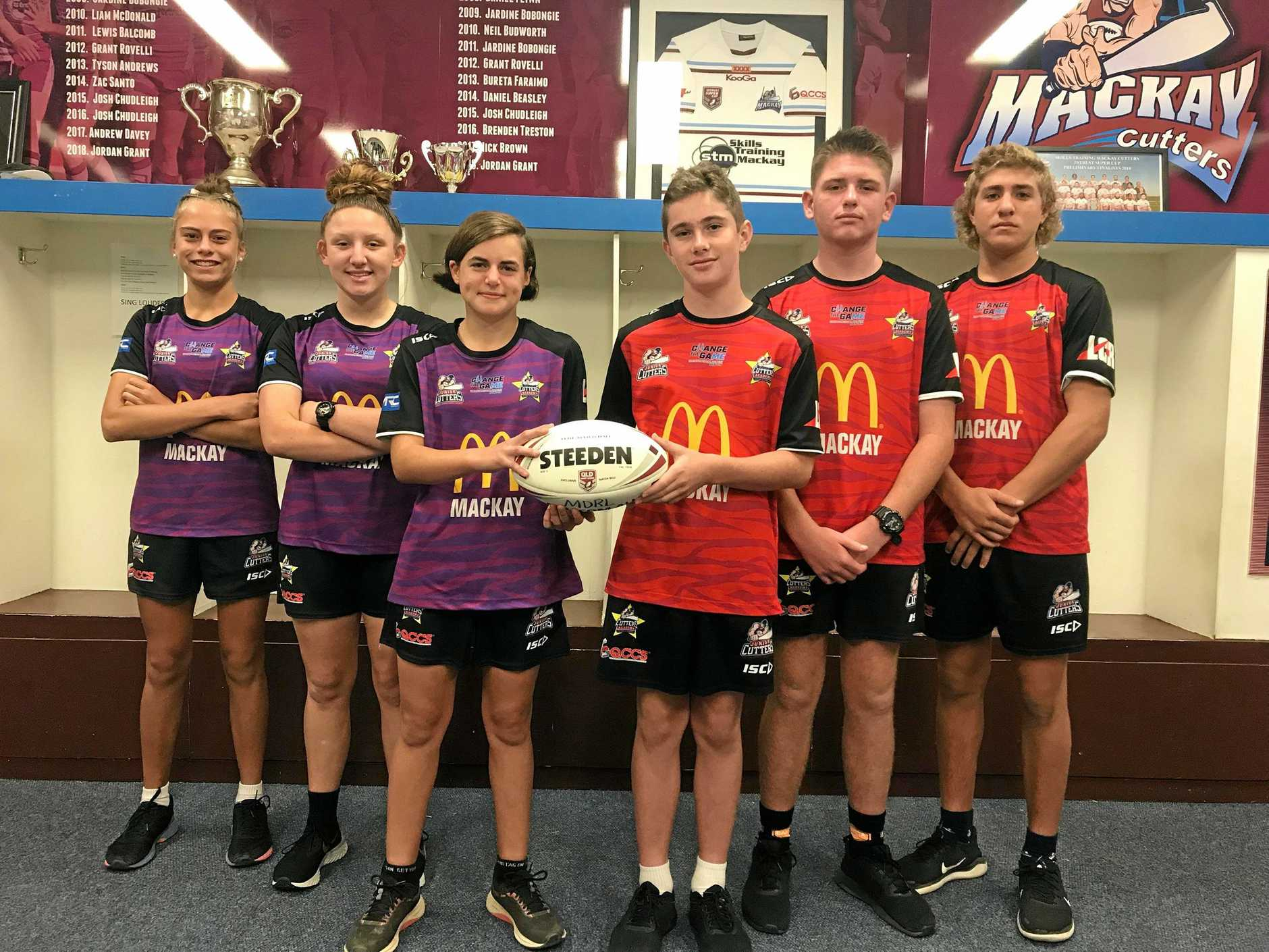 Mackay players selected in the junior Cutters team, Mersades Lawson, Ataliah Love, Abby Bowman, Bailey Caruana Levi Love and Tanner Quattromani.