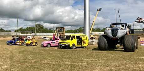 Some of the vehicles from the Monsters Festival of Fire show.