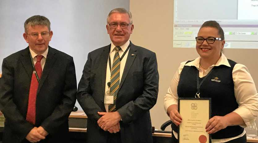 FINALISTS: Mark Pitt, Cr Keith Campbell and Kirsty Board receive South Burnett Regional Council's award for the LGMA finals.