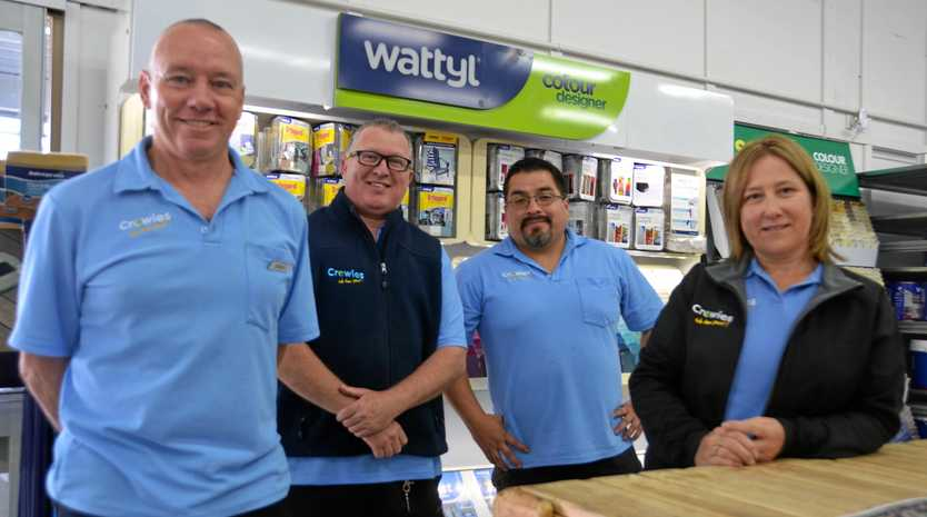 PAINTBACK: Simon Gibson, Mike Coronel, David Rose and Gail Gibson from Crowies Paints are excited to bring Paintback to town.