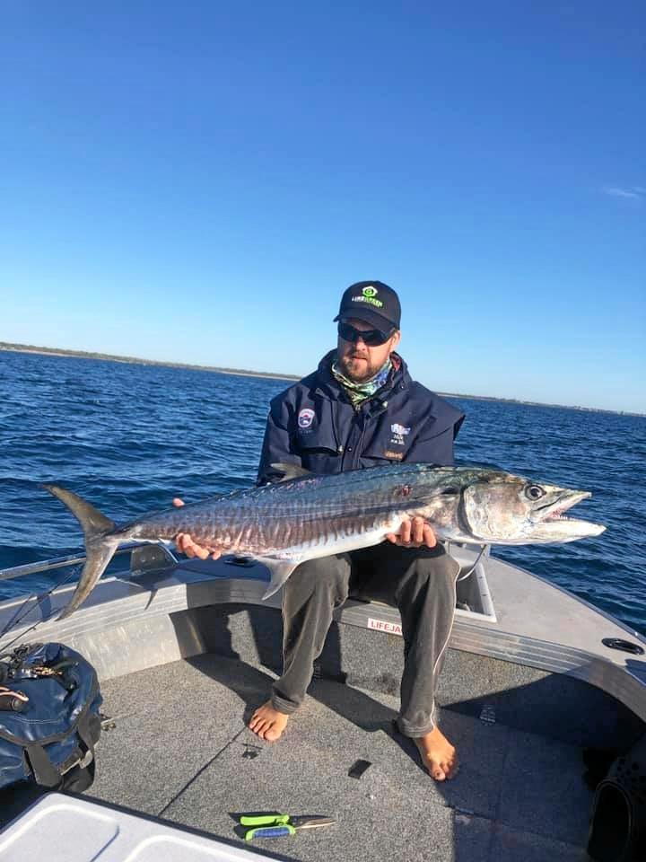 Brett Morgan with a nice spanish mackerel he caught while fishing off Elliott Heads.