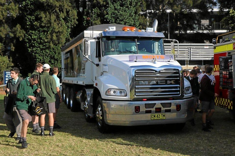 The Mack tipper from Moits proved popular with the students.