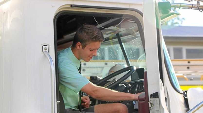 TRUCK SAFETY: Students and teachers got to hop in the driver's seat and appreciate the need to be visible.