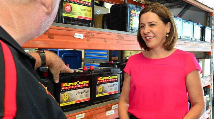 Deb Frecklington chats with Battery Wise owner Kerry Ricketts at Warana.