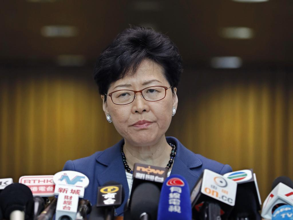 "Hong Kong Chief Executive Carrie Lam lslammed the protests calling them ""organised riots"". Picture: AP"