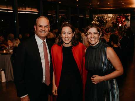 Anastasia Cammaroto, right, with BankSA chief executive Nick Reade and Vogue Australia editor-in-chief Edwina McCann. Picture: Meaghan Coles