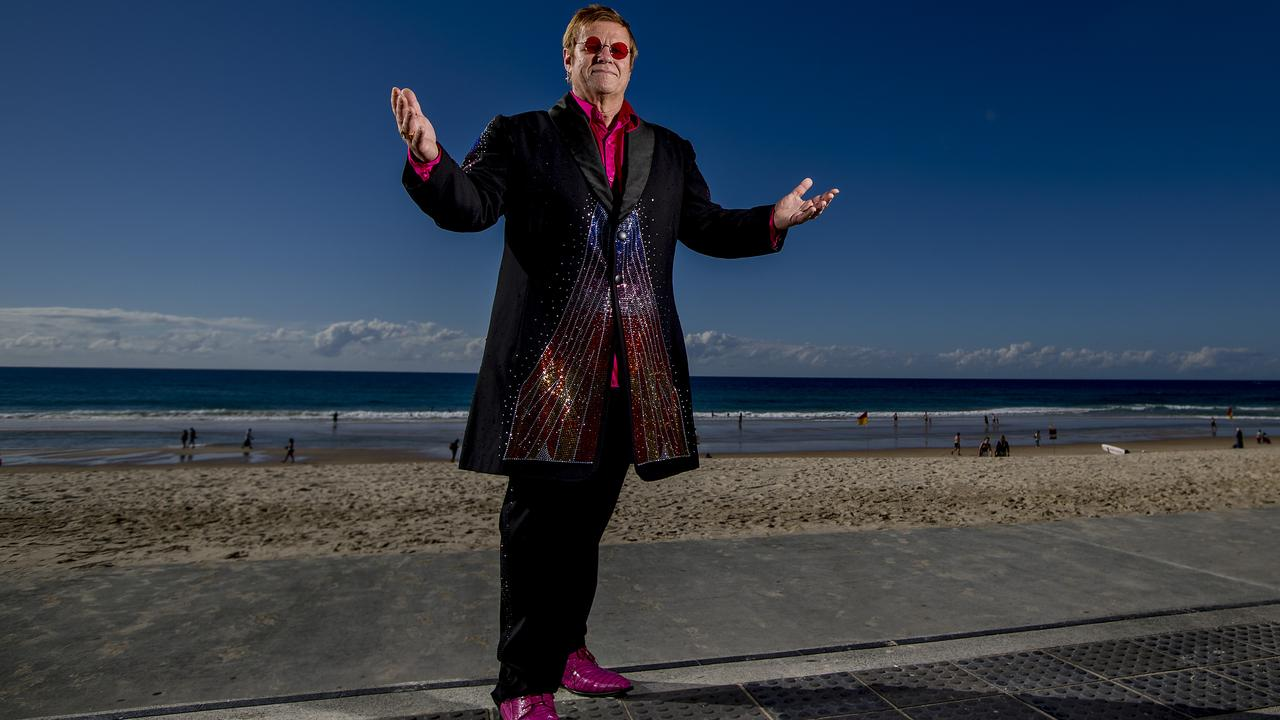 Elton John tribute artist Greg Andrew during his visit to the Gold Coast. Picture: Jerad Williams