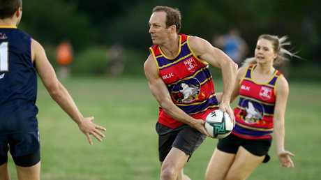 Lockyer came out of retirement to play touch football. Picture by AAP/David Clark.