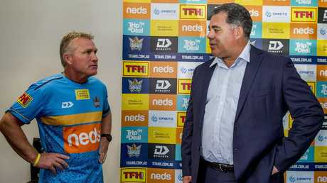 Titans coach Garth Brennan with Mal Meninga after it was announced Big Mal was joining the club. Picture: Jerad Williams