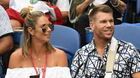 Candice and David Warner. (AAP Image/Julian Smith)
