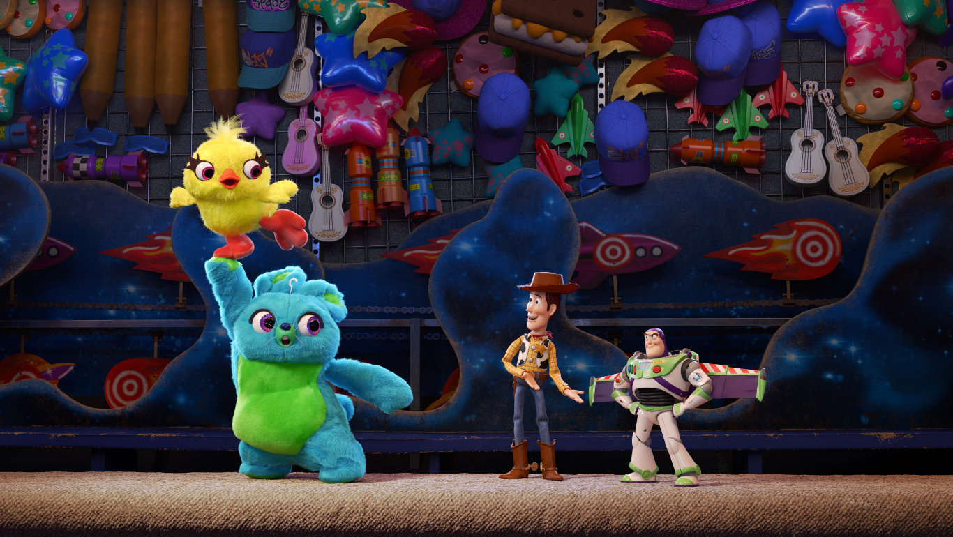Woody and Buzz meet Ducky and Bunny in a scene from Toy Story 4.