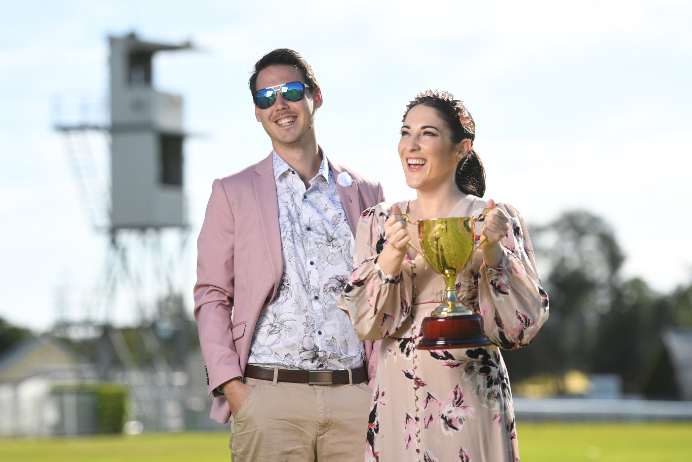 Lauren Roche and Liam Schade model fashions available from Orion ahead of the Ipswich Cup Fashions on the Field.