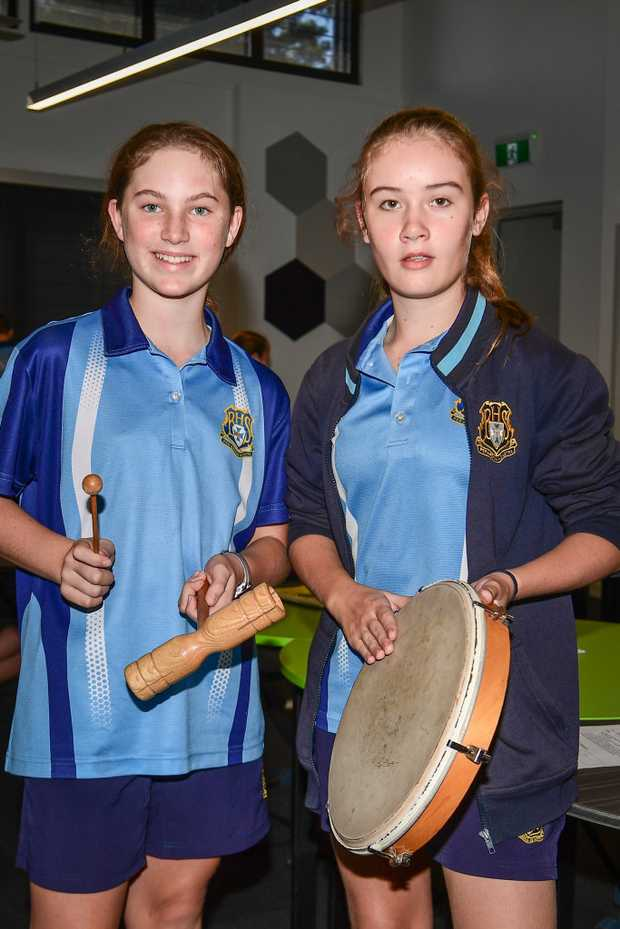 Cadence Taylor and Lucy Steindl with their percussion