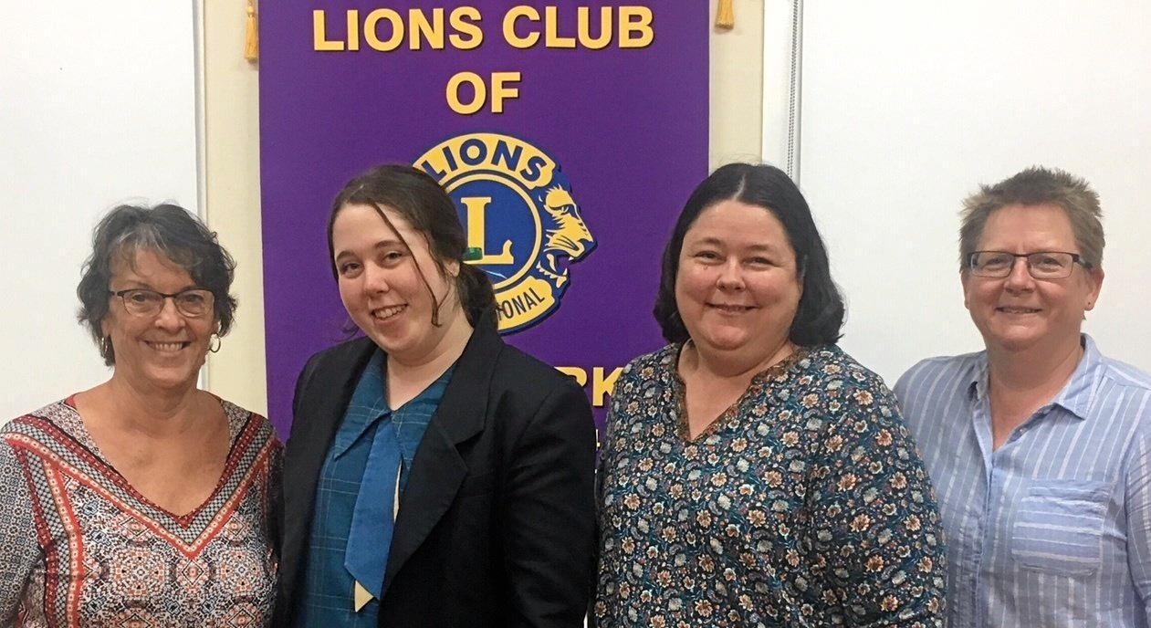 Emu Park Lions President Val Wex, Mariah Sleeman, Jessica Sleeman and fundraising co-ordinator Lion Lynelle Burns