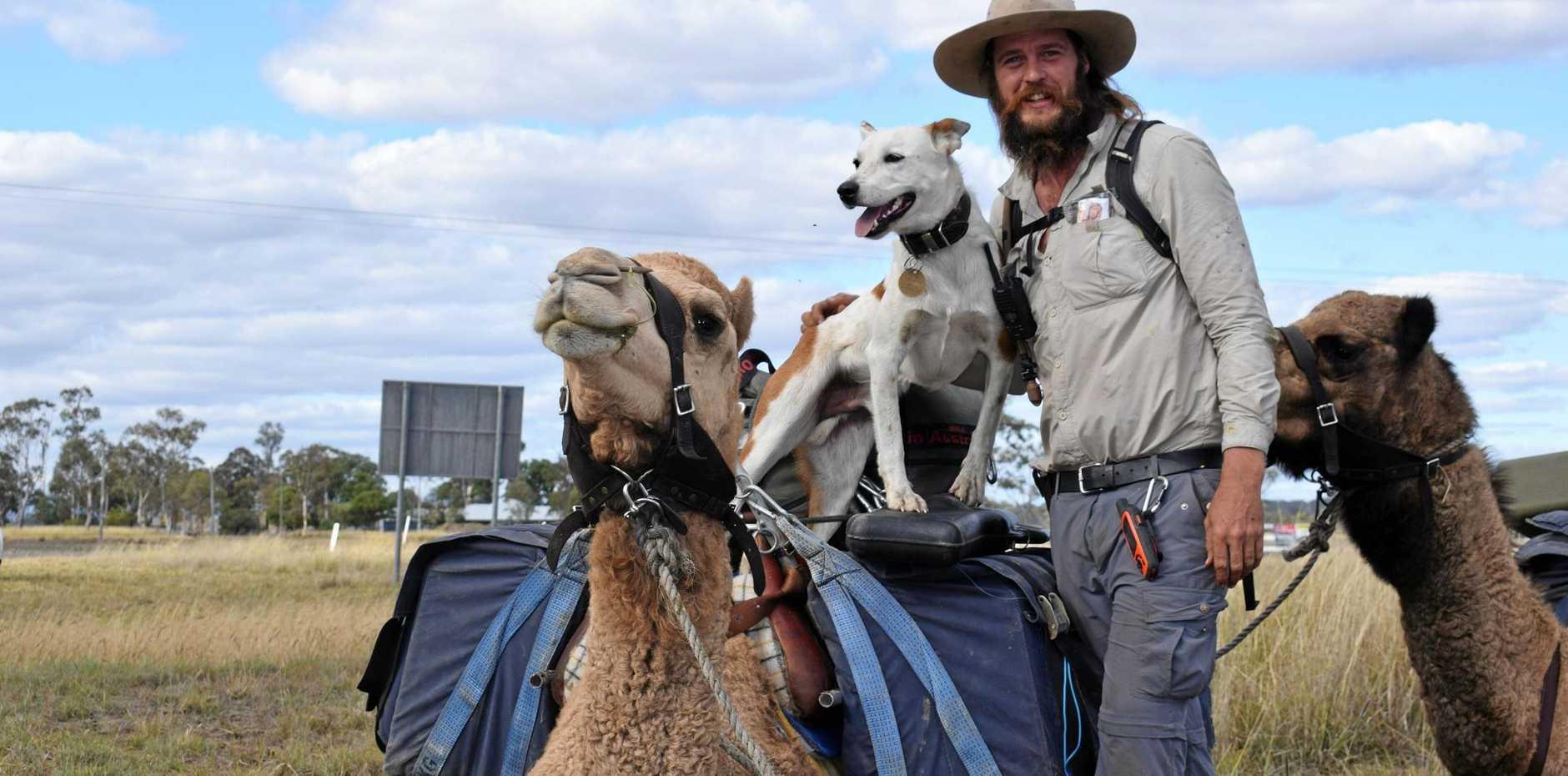 John Elliott with dog Bruski and camels Ted, Jackson, Arthur and Bill