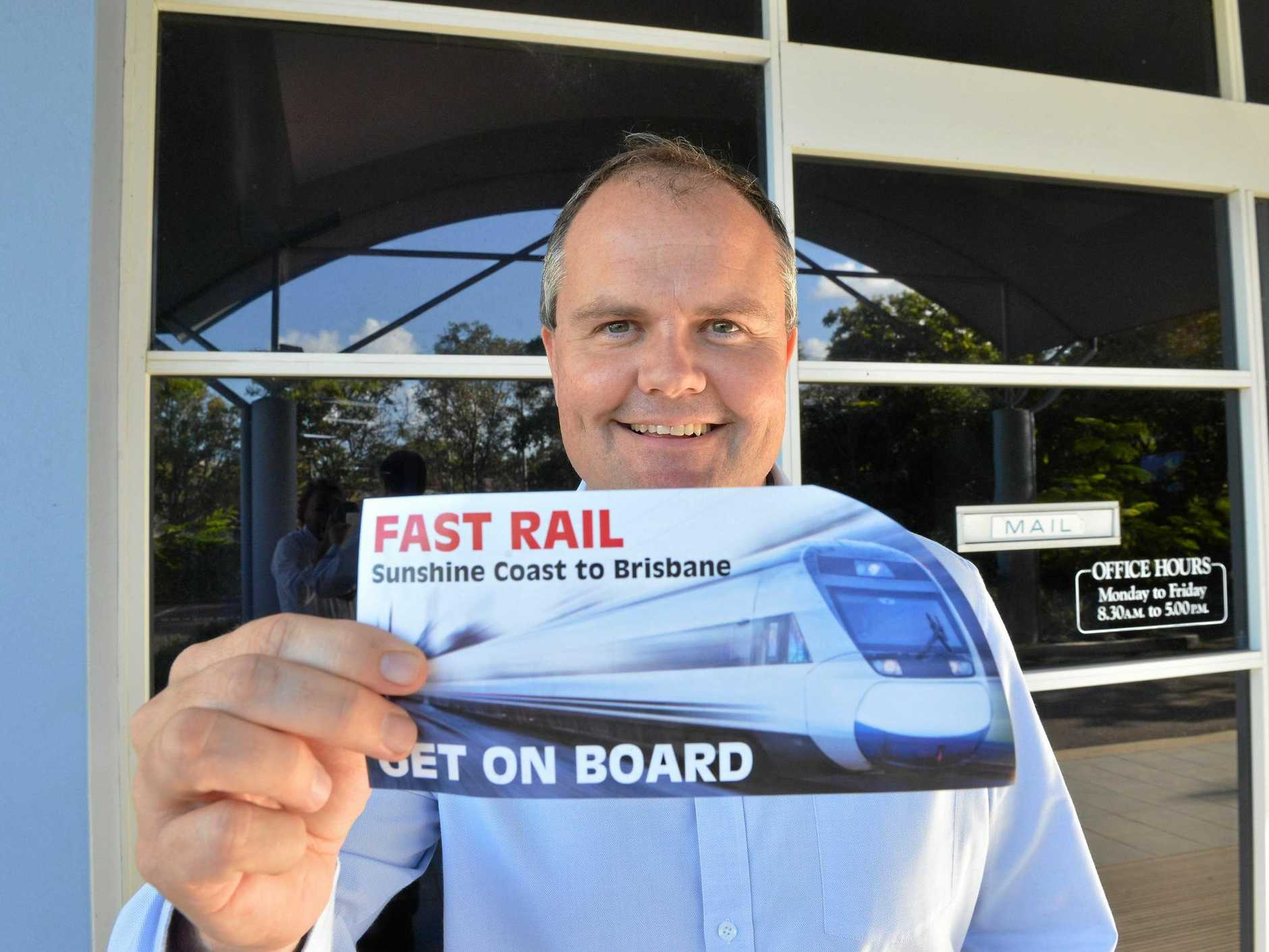 KEY: Federal Member for Fairfax Ted O'Brien says fast rail could unlock potential in infrastructure like Sunshine Coast Stadium.
