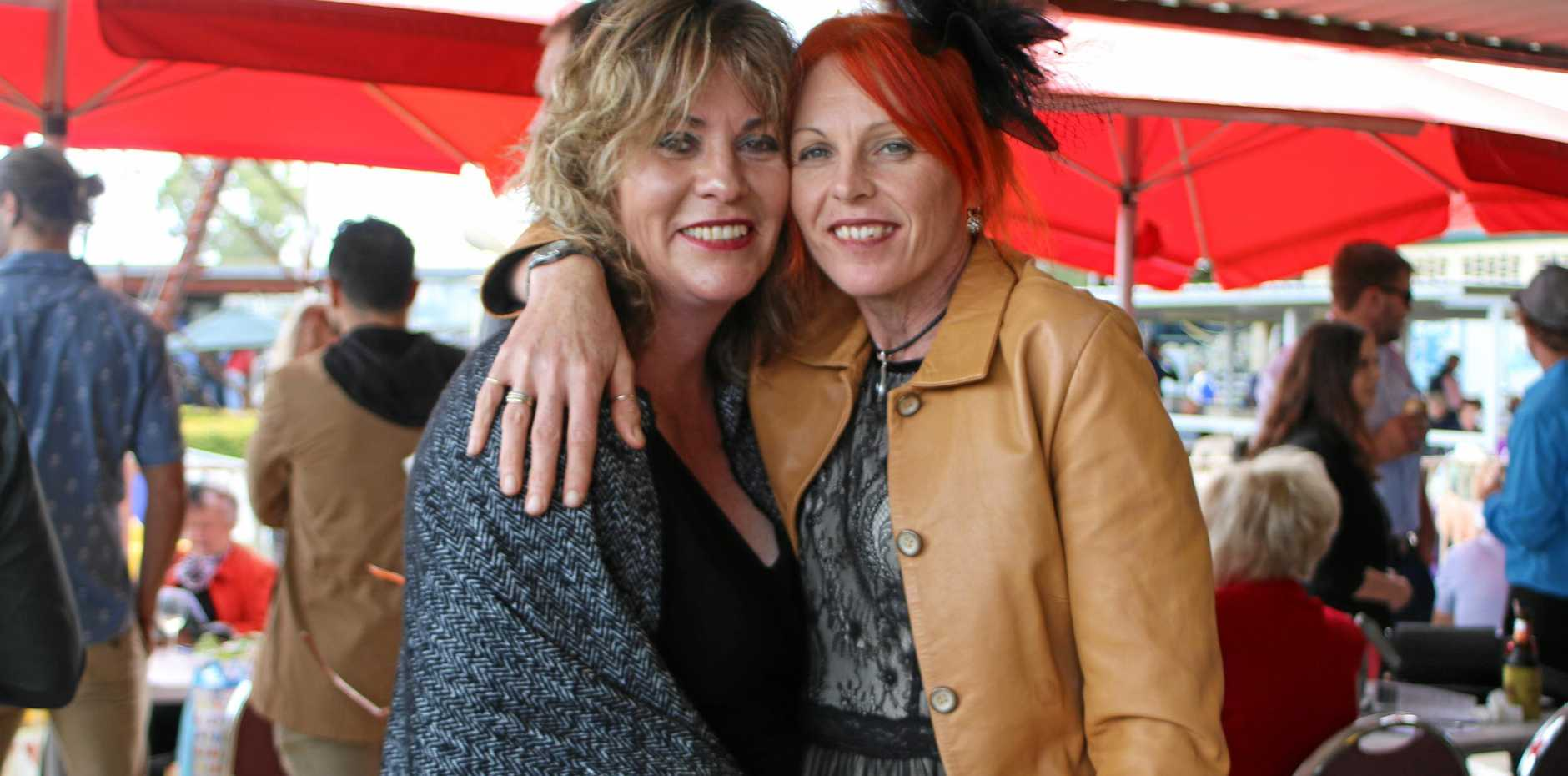 HORSIN' AROUND: Killarney residents Kelli Matthews and Jackie Hilton catch up at 2016's Cup.