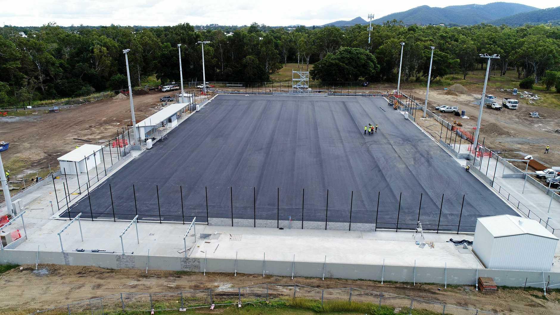 Work on the new hockey field at Kalka Shades.