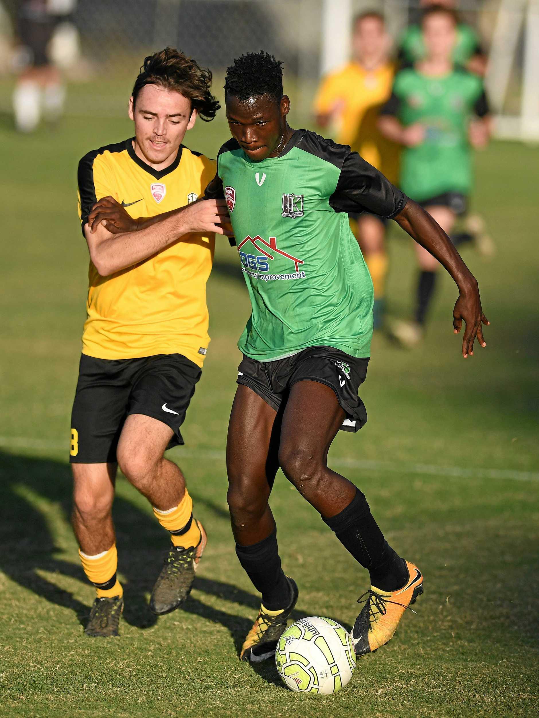 QPL u20's soccer match played between the Ipswich Knights and the Sunshine Coast at Bundamba on Saturday. Lucky Joe.